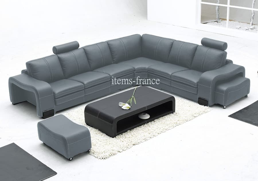canape d angle cuir salon new york gris canape cuir 6 places 2 reposes pieds 340x281. Black Bedroom Furniture Sets. Home Design Ideas