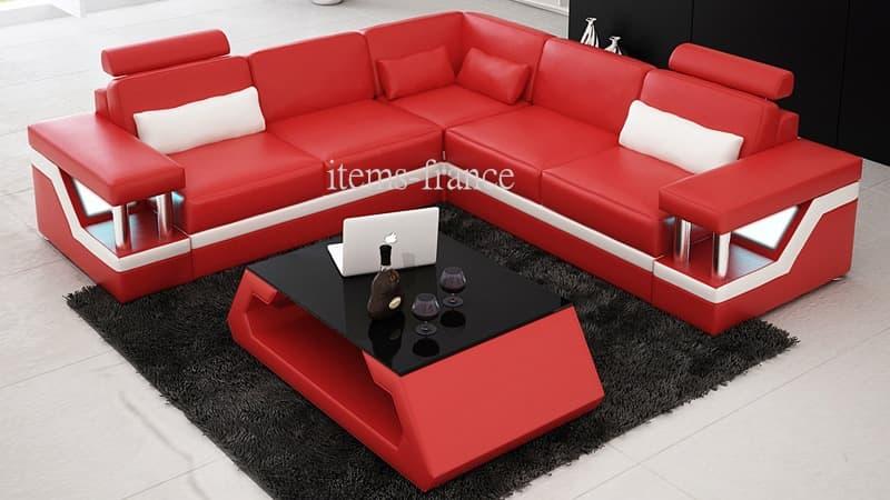 Canape d angle cuir salon rimini 1 table canape d 39 angle cuir 4 pla - Canape d angle convertible cuir rouge ...