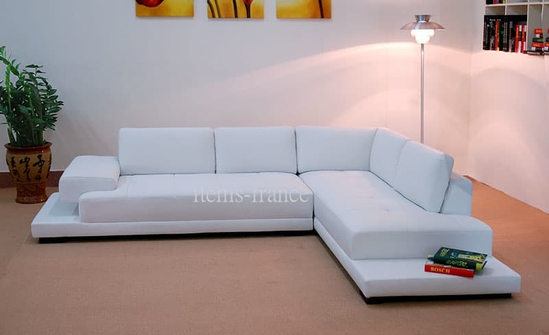 Canape d angle cuir salon stanley canape contemporain d angle cuir 5 pl - Nettoyant canape tissu ...
