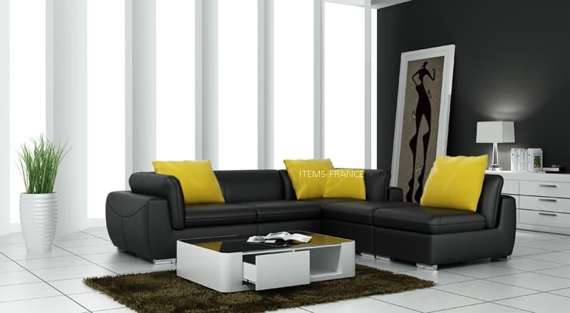 Canape d angle cuir salon verone canape d 39 angle en cuir noir 4 places 260x225 - Salon canape noir ...
