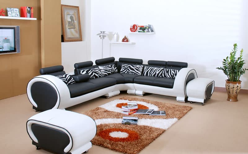 canape d angle cuir salon xenon canape en cuir noir et blanc 5 places pouf 292x246x81. Black Bedroom Furniture Sets. Home Design Ideas