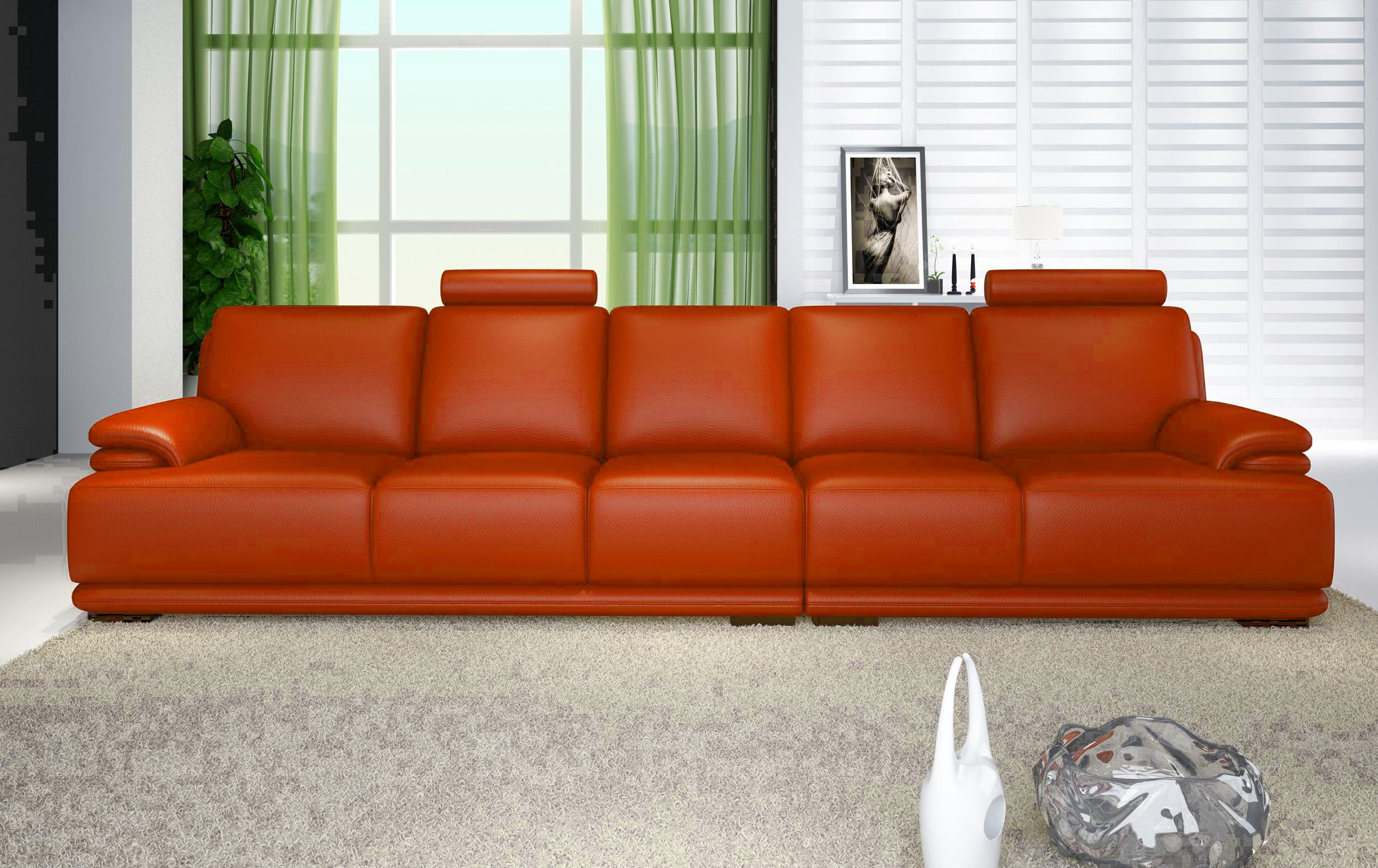 Canape droit cuir salon london orange canape cuir - Canape 5 places droit ...