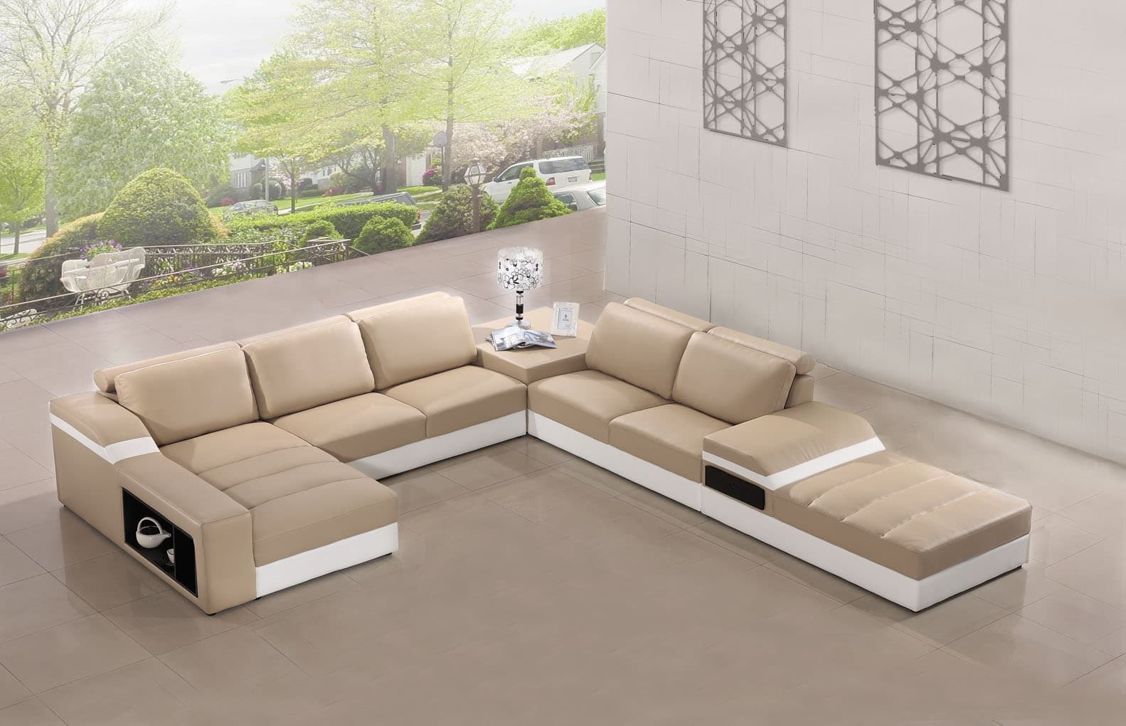 Canape panoramique cuir salon elegancia canape cuir 6 places 185x375x415 - Canape 6 places droit ...