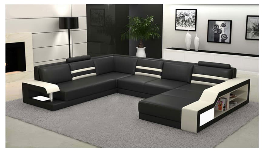 canape panoramique cuir salon milan 1 canape cuir 6 places 272x359x187. Black Bedroom Furniture Sets. Home Design Ideas