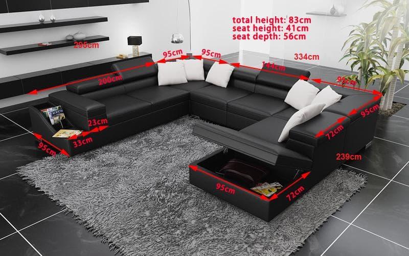 canape panoramique cuir salon palermo canape avec rangement 7 places. Black Bedroom Furniture Sets. Home Design Ideas