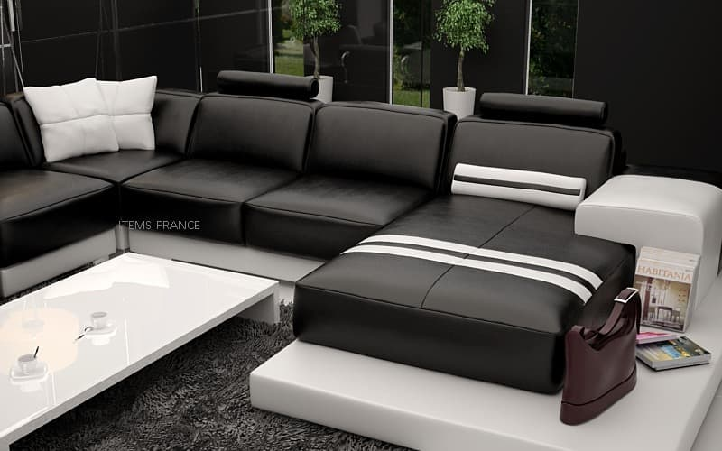 canape panoramique cuir salon salerne canape cuir 5 6 places 302x414x198. Black Bedroom Furniture Sets. Home Design Ideas
