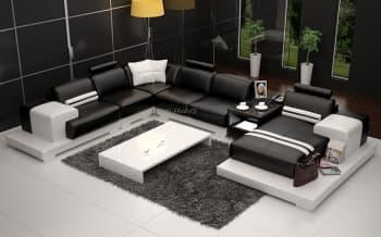 canape panoramique cuir salon presentation des. Black Bedroom Furniture Sets. Home Design Ideas