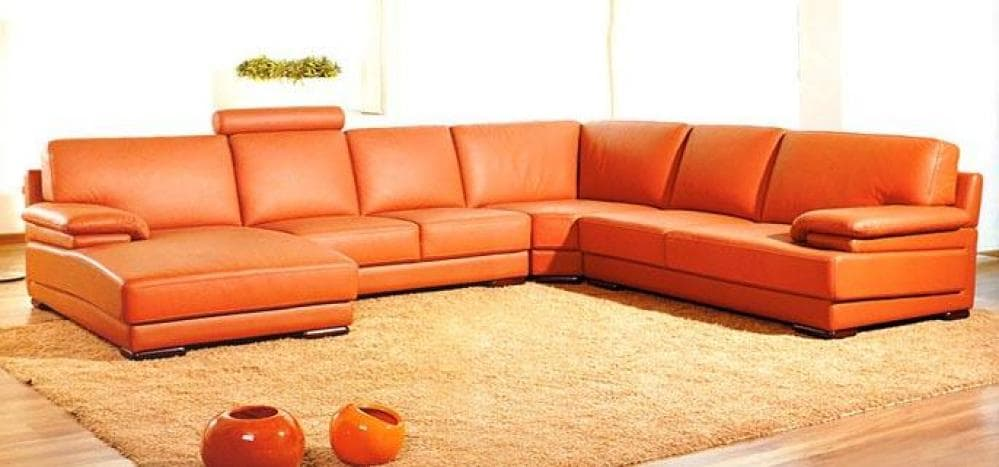 Canape panoramique cuir salon tilao 4 tetiere - Canape d angle orange ...