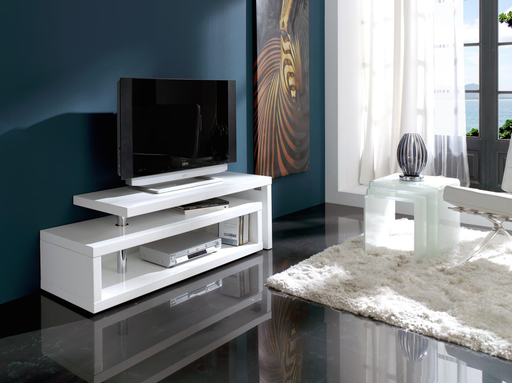 Salon meuble tv laque meuble tv pivotant 360 - Produit meuble laque ...