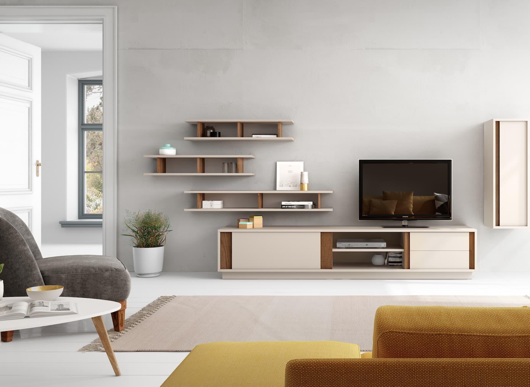 Salon meuble tv megeve meuble tv avec une porte tag res au centre et deux tiroirs porte - Meuble tv avec etagere ...