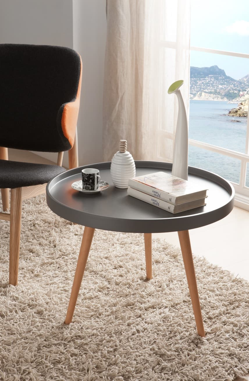 salon table basse losane table grise ronde avec. Black Bedroom Furniture Sets. Home Design Ideas