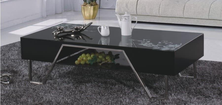 Salon table basse yukon table basse en verre noir 130 65 for Table basse 20 euros
