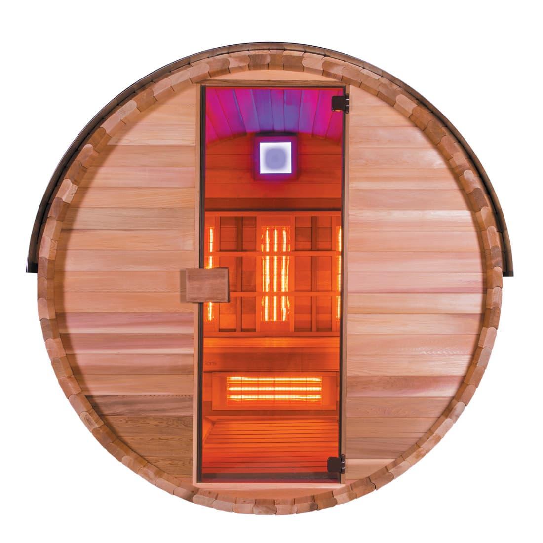 sauna infrarouge barrel ir 3pl sauna d 39 ext rieur infrarouge barrel ir 3 places l 150 x. Black Bedroom Furniture Sets. Home Design Ideas