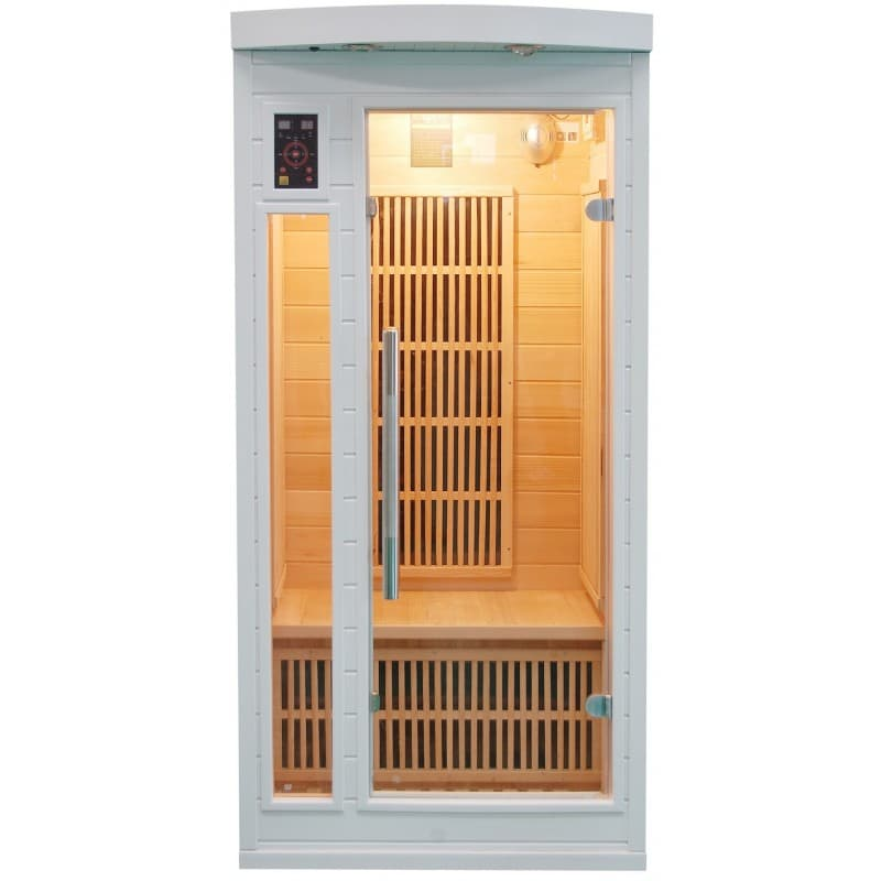 sauna infrarouge soleil bl 1 pl sauna infrarouge soleil blanc 1 place 89x94x190cm. Black Bedroom Furniture Sets. Home Design Ideas