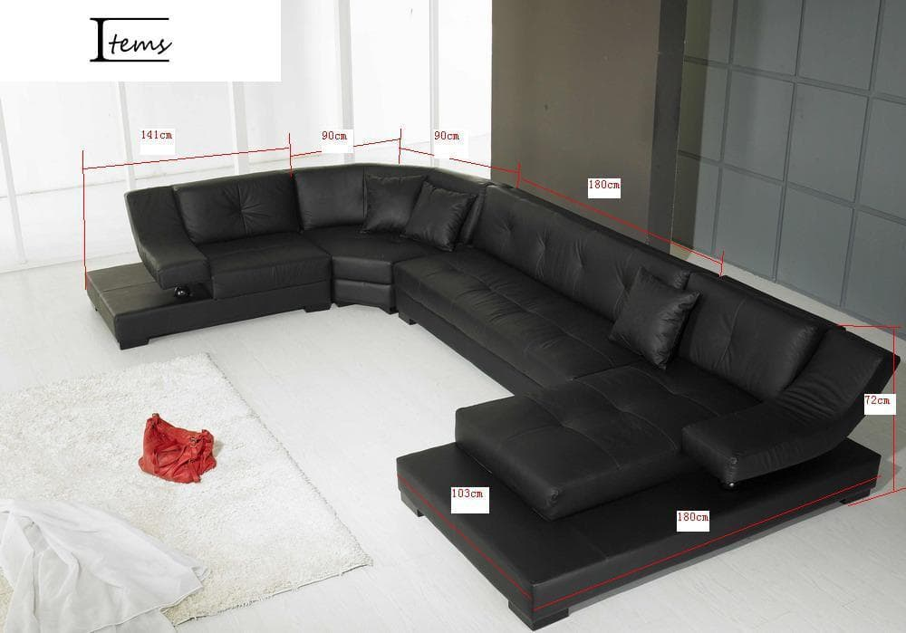 vente flash evenementiel denver canap cuir 6 7 places 375x231x180 couleur noir. Black Bedroom Furniture Sets. Home Design Ideas